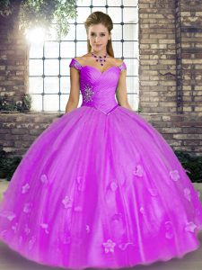 Fine Lavender Quinceanera Dresses Military Ball and Sweet 16 and Quinceanera with Beading and Appliques Off The Shoulder Sleeveless Lace Up