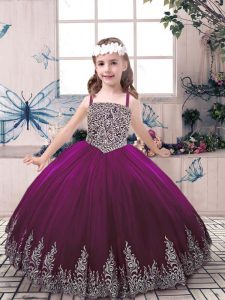Popular Beading and Embroidery Little Girl Pageant Gowns Eggplant Purple Lace Up Sleeveless Floor Length