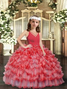 High Class Coral Red V-neck Neckline Ruffles and Ruffled Layers Child Pageant Dress Sleeveless Zipper
