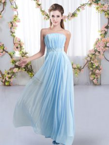 Baby Blue Dama Dress for Quinceanera Wedding Party with Beading Strapless Sleeveless Sweep Train Lace Up