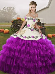 White And Purple Quinceanera Dresses Military Ball and Sweet 16 and Quinceanera with Embroidery and Ruffled Layers Off The Shoulder Sleeveless Lace Up