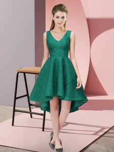 Peacock Green Zipper V-neck Lace Quinceanera Court Dresses Lace Sleeveless
