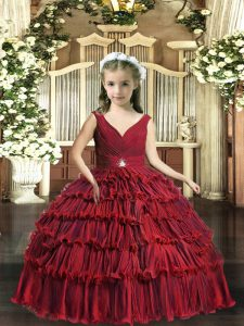 Unique Red Backless Kids Pageant Dress Beading and Ruffled Layers Sleeveless Floor Length