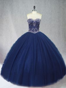 Best Selling Ball Gowns Sweet 16 Quinceanera Dress Navy Blue Sweetheart Tulle Sleeveless Floor Length Lace Up