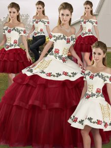 f32a0324422  586.08  384.90  Fitting Wine Red 15 Quinceanera Dress Tulle Brush Train  Sleeveless Embroidery and Ruffled Layers