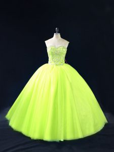 Beading Ball Gown Prom Dress Yellow Green Lace Up Sleeveless Floor Length