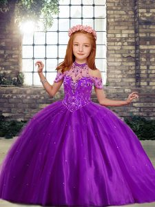 Purple Ball Gowns Beading Little Girl Pageant Gowns Lace Up Tulle Sleeveless Floor Length