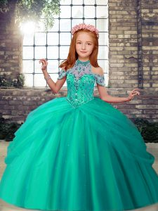 Floor Length Turquoise Child Pageant Dress High-neck Sleeveless Lace Up