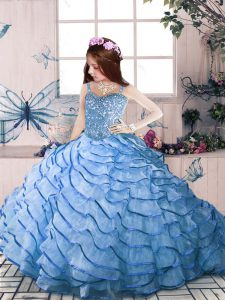Simple Blue Straps Lace Up Beading and Ruffled Layers Pageant Dresses Court Train Sleeveless
