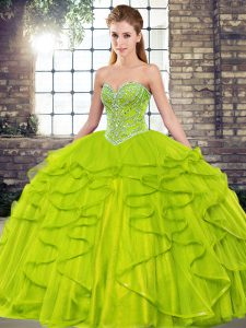 Latest Olive Green Sleeveless Tulle Lace Up Quinceanera Dress for Military Ball and Sweet 16 and Quinceanera