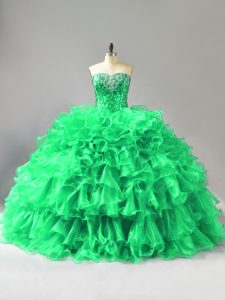 Green Quinceanera Dress Sweet 16 and Quinceanera with Beading and Ruffles Sweetheart Sleeveless Lace Up