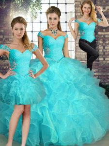 Luxury Aqua Blue Sleeveless Floor Length Beading and Ruffles Lace Up Ball Gown Prom Dress