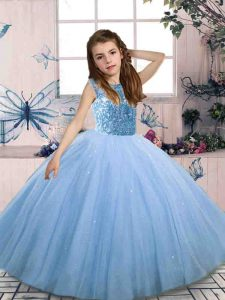 Most Popular Floor Length Blue Little Girls Pageant Dress Wholesale Scoop Sleeveless Lace Up