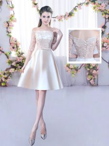Champagne Satin Lace Up Quinceanera Court of Honor Dress Half Sleeves Mini Length Lace and Belt