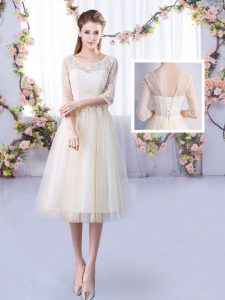 Amazing Champagne Quinceanera Court Dresses Wedding Party with Lace Scoop Half Sleeves Lace Up