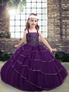 Customized Sleeveless Lace Up Floor Length Beading and Ruffled Layers Little Girls Pageant Gowns
