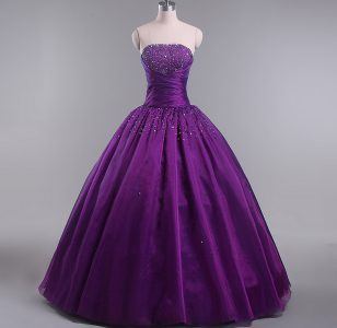 Pretty Floor Length Lace Up Quinceanera Gowns Eggplant Purple for Sweet 16 and Quinceanera with Beading and Ruching