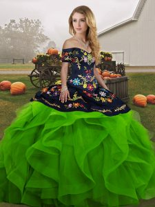 Off The Shoulder Sleeveless Tulle Ball Gown Prom Dress Embroidery and Ruffles Lace Up