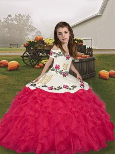 Embroidery and Ruffles Little Girls Pageant Dress Wholesale Coral Red Lace Up Sleeveless Floor Length