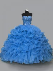 Blue Organza Lace Up Sweetheart Sleeveless Floor Length Vestidos de Quinceanera Beading and Ruffles