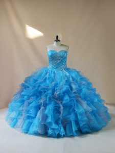 Sweetheart Sleeveless Lace Up Quinceanera Dresses Baby Blue Organza
