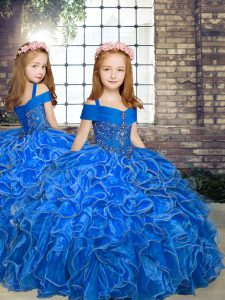 Graceful Blue Organza Lace Up Straps Sleeveless Floor Length Little Girls Pageant Dress Beading and Ruffles