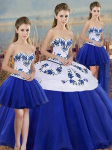 High Class Royal Blue Ball Gowns Embroidery and Bowknot Vestidos de Quinceanera Lace Up Tulle Sleeveless Floor Length