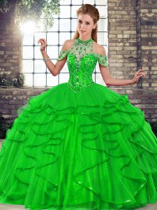 Green Sleeveless Floor Length Beading and Ruffles Lace Up Sweet 16 Dresses