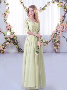 Fabulous Tulle V-neck Half Sleeves Side Zipper Lace and Belt Dama Dress for Quinceanera in Yellow Green