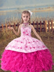 Hot Pink Sleeveless Floor Length Beading and Embroidery and Ruffles Lace Up Child Pageant Dress