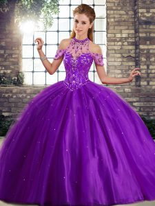 Spectacular Purple Lace Up Halter Top Beading Casual Dresses Tulle Sleeveless Brush Train