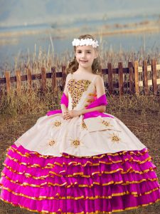 Custom Design Fuchsia Girls Pageant Dresses Wedding Party with Beading and Embroidery and Ruffled Layers Straps Sleeveless Lace Up