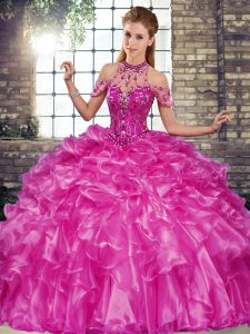 Exquisite Halter Top Sleeveless Sweet 16 Dresses Floor Length Beading and Ruffles Fuchsia Organza