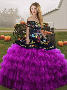 Off The Shoulder Sleeveless Lace Up Quinceanera Dress Black And Purple Organza