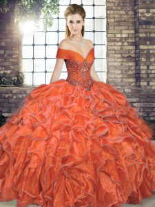 Hot Selling Orange Red Ball Gowns Beading and Ruffles 15 Quinceanera Dress Lace Up Organza Sleeveless Floor Length