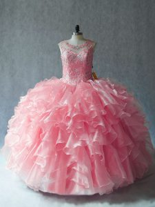 Adorable Ball Gowns Quinceanera Dress Pink Scoop Organza Sleeveless Lace Up