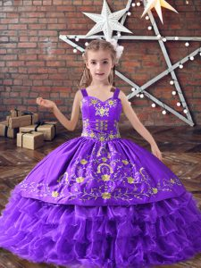 Hot Sale Lavender Ball Gowns Straps Sleeveless Satin and Organza Floor Length Lace Up Embroidery and Ruffled Layers Girls Pageant Dresses