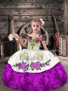 Sleeveless Organza Floor Length Lace Up Little Girls Pageant Dress Wholesale in Purple with Beading and Embroidery and Ruffles
