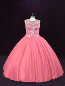 Pink Scoop Lace Up Beading Sweet 16 Dress Sleeveless