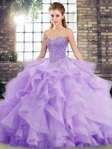 Latest Sleeveless Brush Train Beading and Ruffles Lace Up Quinceanera Gowns