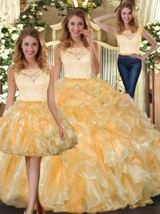 Cute Gold Organza Clasp Handle Scoop Sleeveless Floor Length Quinceanera Gowns Lace and Ruffles
