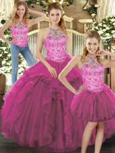 Charming Floor Length Lace Up Quinceanera Dress Fuchsia for Military Ball and Sweet 16 and Quinceanera with Beading and Ruffles