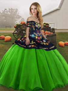 On Sale Green Ball Gowns Tulle Off The Shoulder Sleeveless Embroidery Floor Length Lace Up Sweet 16 Dress