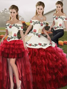 Ideal Wine Red Sleeveless Embroidery and Ruffled Layers Floor Length Sweet 16 Dress