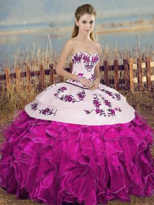 Sweetheart Sleeveless Organza Sweet 16 Quinceanera Dress Embroidery and Ruffles and Bowknot Lace Up