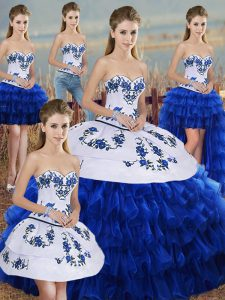 Organza Sweetheart Sleeveless Lace Up Embroidery and Ruffled Layers and Bowknot Sweet 16 Dress in Royal Blue