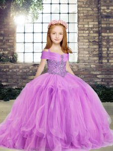 Charming Lilac Straps Neckline Beading Little Girls Pageant Dress Wholesale Sleeveless Side Zipper