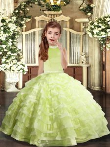 Beading and Ruffled Layers Pageant Dress Wholesale Yellow Green Backless Sleeveless Floor Length