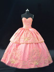 Pink Sleeveless Embroidery Quinceanera Gown