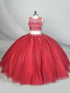 Customized Floor Length Zipper Quinceanera Dress Red for Quinceanera with Beading and Appliques